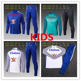 Wholesale Hot Boys Hoodie - Hot Sale 17 18 Tracksuit Soccer Hoodie Jacket Jogging Football Tops Coat Pants Sports Training Suit 2017 2018 HAZARD KIDS KIT Track Suit
