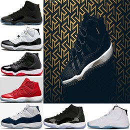 Wholesale Gold Jam - 2018 11 11s PRM Heiress Black Stingray Gym Red Chicago Midnight Navy Space Jams Win Like 82 96 Men Basketball Shoes sports Sneaker