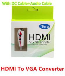 vga cavi di colore Sconti Adattatore convertitore maschio-femmina VGA HDMI 1080P HDMI di alta qualità con cavo di alimentazione USB cavo di alimentazione bianco colore nero