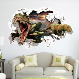 Wholesale Nature Wallpaper Poster Wall - 2015 Hot 3D Cartoon Dinosaur Wall Stickers Decals Wallpaper Removable PVC Poster Wallpaper Home Decorative For Kids Room Free Shipping