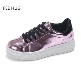 Wholesale Wholesale Dress Loafers - Wholesale- 2017 Bling Patent Leather Casual Shoes Women Creepers Platform Shoes Woman Loafers Gold Silver Flats Lace-Up Women Shoes