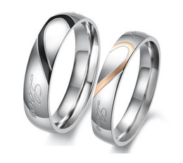 Wholesale Matching Wedding Rings - Heart Shape Matching Ring Colorfast Stainless Titanium Steel Rings Silver Cutting Could Separate Couple Rings Wedding Engagement Rings