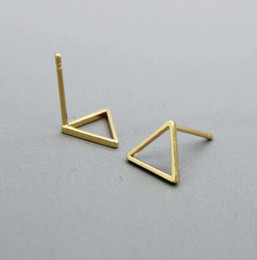 Wholesale Hollow Triangle - 10Pair- S015 Gold Silver Tiny Hollow Triangle Stud Earrings Open Line Triangle Stud Earrings Geometric Jewelry for Women