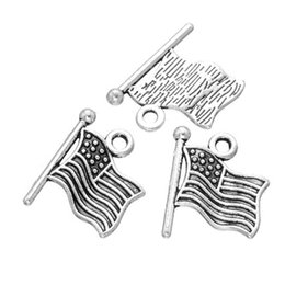 Wholesale American Flag Pendant Free - Wholesale 200 pcs siver American Flag Charm pendant good for DIY Craft and jewelry making free shipping