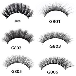 Wholesale Lashes Box - 5pairs set 3D Mink False EyeLashes Thick Plastic Black Cotton Full Strip Fake Eye Lashes For Party Cosmetic Make Up Tool With Box G800