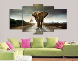 Wholesale Elephant Oil Canvas Painting - 5 Panel Elephant Painting Wall Art Picture Home Decoration Living Room Print Painting Modern Canvas Prints Framed Art F 463