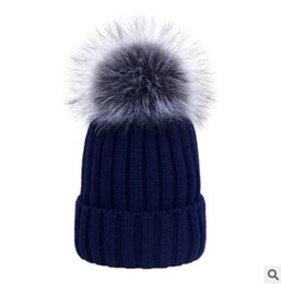 Wholesale Kint Cap - Winter children thicken warmer hat kint beanie baby girls boys kids faux fox fur pompon knitting cap mother dauther stripe knited cap R0841