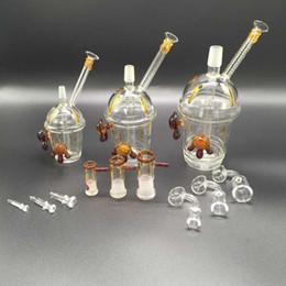 2019 tamaños de uñas Recién llegado de vidrio Bong Rig Dabuccino Copa Oil Rig Glass Water Pipes tamaño de la junta 10 mm 14 mm 18 mm con clavo y cuenco tamaños de uñas baratos