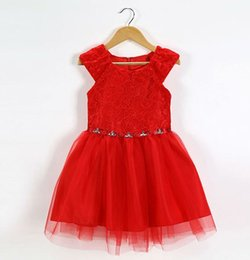 Wholesale Tea Length Couture - Posh Red Lace and Rhinestone Dress - flower girl dress, couture girls dress, girls lace , floral dress, wedding, pageants, christmas