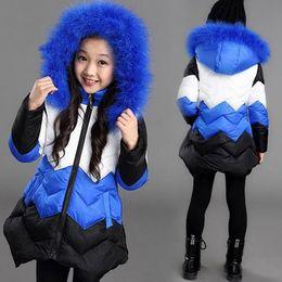 Wholesale Eiderdown Coat - New Big Girls Winter Coat Kids Cotton-padded Jackert Wave Patchwork Hooded Eiderdown Cotton Jacket Children Warm Coats Outdoor Outerwears
