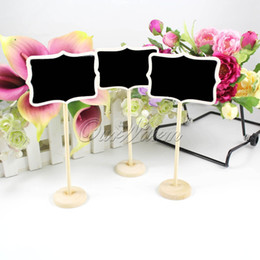 Wholesale chalkboard place holder - Wholesale-24Pcs lot Mini Wooden Wood Chalkboard Blackboard On Stick Stand Place Card Holder Table Number for Wedding Event Decoration