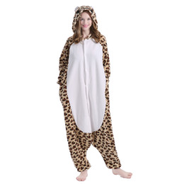 Wholesale Leopard Costume Adult - Mejorhome Adult Unisex Animal Pajamas Leopard Flannel Sleep Costumes Lovely Mascot Costume Warm Comfortable Family Gifts Slumber Party