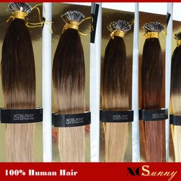 "Wholesale Dip Dyed Hair - XCSUNNY Nano Loop Virgin Hair Ombre Two Tone Dip Dye 18"" 20"" 1g s 100g +100beads 100% Malaysian Virgin Hair Nano Ring Extension"