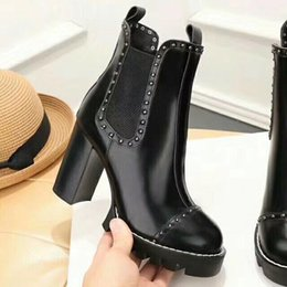 Wholesale Platform Boot Black - 2017 New Fashion Women's Martin boots Platform high heels shoes Real Leather Brand Woman Warm Knight boots D27