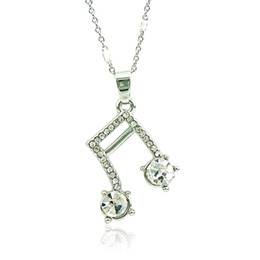 Pendenti della collana di musica online-Brand New Fashion Pendant Necklace Placcato argento bianco strass Music Note Collana per le donne Gioielli regali di San Valentino