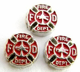 Wholesale Fit Fire - 20PCS lot Fire Department Alloy Floating Charms Fit For DIY Glass Living Locket Jewelry Making
