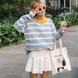 Wholesale Fresh Sweater - Wholesale- 2016 new autumn and winter coat college wind loose women shirt stripe wild little fresh knitted sweater women