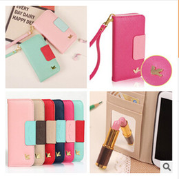 Wholesale Note2 Wallet Cases - Fashion practical Little Bird PU leather Cell Phone Case Covers with card slots For iphone 4 4s 5 5s 5c 6 Plus Samsung Galaxy S4 S5 note2 3