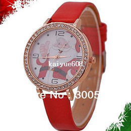Correas de reloj de imitacion online-JW351 Merry Christmas Watch Relojes de imitación de diamantes de imitación de moda Reloj de pulsera de Santa Claus Reloj de correa de cuero genuino