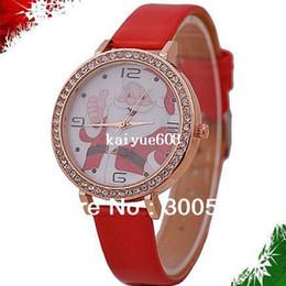 Имитация ремней онлайн-JW351 с Рождеством часы мода имитация Алмазный наручные часы Санта-Клауса часы Кожаный ремешок часы