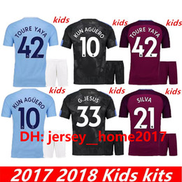 Wholesale Boy Walkers - 17 18 kids home away soccer Jersey Kits socks KUN AGUERO STERLING Walker DE BRUYNE GUNDOGAN G.JESUS away Sane Bernardo child Football Shirts