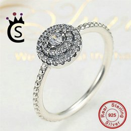 Wholesale Pandora Imitation - Authentic 925 sterling silver jewelry Ring big imitation diamond ring for women Christmas gift real silver Jewelry VS pandora