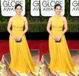 Wholesale Award Sashes - America Ferrera Yellow Evening Celebrity Dresses 73th Golden Globe Awards 2016 Sexy Halter Sleeveless Open Front A-line Lace Red Carpet Prom