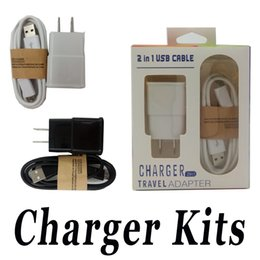 Wholesale Mobile Adapter Micro Usb - Micro USB Data Cable 2 in 1 US EU Wall Charger 5V 2A Kits Travel Adapter with Retail Package For Mobile Phone