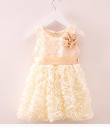 Wholesale Cute Round Collar Dress - The new 2016 Girls dress Fashion cute round collar sleeveless lace leisure children's skirt BH1652