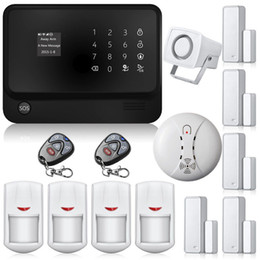 Wholesale New G90B WIFI GSM GPRS Wireless Home House alarm system IOS Android APP Control With Smoke Detector