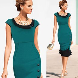 Wholesale Pencil Wiggle Dresses - 2015 Womens Celebrity Vintage Elegant Formal Button Tunic Wear To Work Evening Party Mermaid Midi Pencil Wiggle Dress