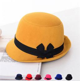 Wholesale Grey Bowler Hat - British Style Bowknot Fedora Hats Womens Girls Wool Felt Bowler Caps Sweet Imitate Cashmere Brim Bucket Top Hat Good Quality K1131
