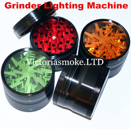 Wholesale Tooth Lights - Grinder Lighting Machine CNC 4-Layer Herbal Grinders 63mm Aluminium Alloy Clear Tooth filter net Sharpstone dry herb vaporizer pen vapor