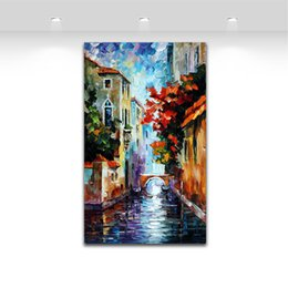 Wholesale River Paintings - Venice River - Palette Knife Oil Painting Landscape Style Printed On Canvas Riverside Scenery Works for Home Wall Decor