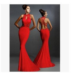 Wholesale Sleeveless Mosaic Dress - NEW fashion sexy sleeveless with lace backless mesh mosaic bag hip evening gown fishtail floor length evening dress 3color