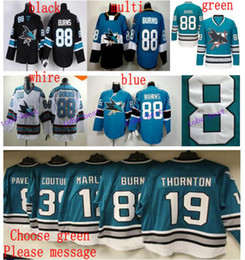Wholesale Teal White Jersey - Cheap Teal 25th Anniversary San Jose Sharks 88 Brent Burns Jersey Best Quality Home Teal Green Black Stitched Logo Hockey Jersey