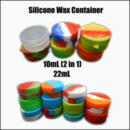 Wholesale Food Grade Plastic Containers - Wholesale Food Grade 10mL 22mL Wax Oil Containers Silicone Jars Dab 2 in 1 Wax Container Tin Dab Plastic Silicone Containers For Wax Via DHL