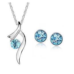 2017 vendita calda moda argento placcato pendenti in cristallo collana / orecchini accessori da sposa set di gioielli per le donne G450 da