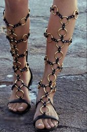 Wholesale Exotic Fashion Rings - Wholesale-2015 summer new arrival exotic style women fashion cut outs flat sandal boots gold metal ring buckles design knee high sandals
