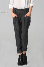 Wholesale Vertical Striped Pants Women - 2015 Summer Women Girl Pants Straight Loose Vertical Striped Full Length Pockets Cuffs Casual Trousers 18