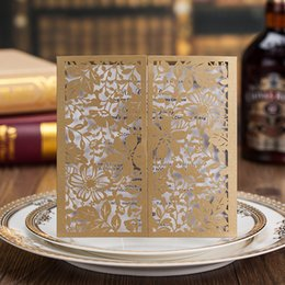Wholesale Laced Wedding Invitations - Newest Personalized Printable Flat Cards Wedding Invitations Gold Lace Hollow Flora 150*150cm Square Business or Party Invitations Cards
