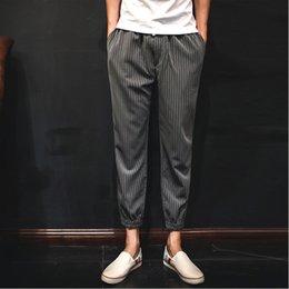 Wholesale Korean Casual Trousers For Men - mens joggers 2015 Men's Slim Autumn new men Slim Korean striped elastic nine points slacks Casual Trousers For Boys Streatwear