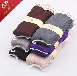 Wholesale Womens Cotton Knee Socks - Lace Socks with Frilly Lace for Womens Boot Socks Double Cylinder Full Cotton