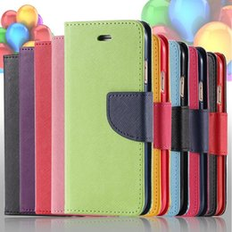Wholesale Iphone Flip Case Color - Luxury Hit Color Series Soft Leather Flip wallet Case cover pouch Case With Card Slot Cover Bag With Iphone 5 6 6s plus Samsung S4 S5 S6