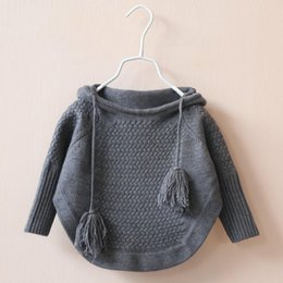Wholesale Hooded Knit Batwing Cardigan - 2015 Kids Girls Knit Hooded Sweaters Baby Girl Fall Batwing Pullover Girl Fashion Jumper Tops Childrens Wholesale clothing