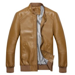 Wholesale Matches Leather Jackets - Fall-Solid Color Male Motorcycle Leather Jacket Autumn 2016 PU Coat Casual Aviator Outerwear All-match Men's Clothing jaqueta d couro