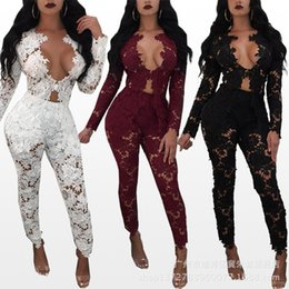 Wholesale Ladies Dress Suits Wholesale - Sexy egant perspective lace See-through lace deep vneck fashion dew chest lady long sleeved long pants suit party club dress