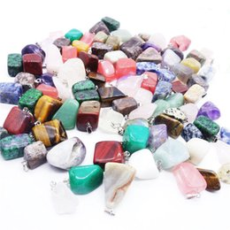 Wholesale Crystal Agate Pendant - Fashion natural stone jewelry pendants wholesale lot mixed new cats eye rose quartz crystal red agate fit necklaces genuine for necklace
