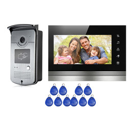 Wholesale Touch Video Intercom System - FREE SHIPPING NEW 7 inch Touch Screen Video Intercom Door Phone System 1 Monitor + Waterproof RFID Reader Doorbell Camera Wholesale