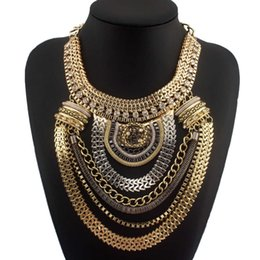 Wholesale Multilevel Necklace - Fashion Boho Style Exaggerated Multilevel Chain Statement Necklaces Women Evening Dress Jewelry Choker Free Shipping CE1284